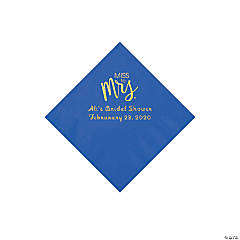 Cobalt Blue Miss to Mrs. Personalized Napkins with Gold Foil - Beverage