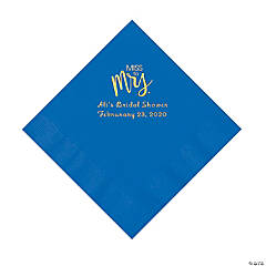 Cobalt Blue Miss to Mrs. Personalized Napkins with Gold Foil - Luncheon