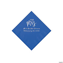 Cobalt Blue Miss to Mrs. Personalized Napkins with Silver Foil - Beverage
