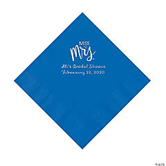 Cobalt Blue Miss to Mrs. Personalized Napkins with Silver Foil - Luncheon