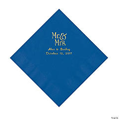 Cobalt Blue Mr. & Mrs. Personalized Napkins with Gold Foil - Luncheon