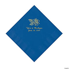 Cobalt Blue Rose Personalized Napkins with Gold Foil - Luncheon