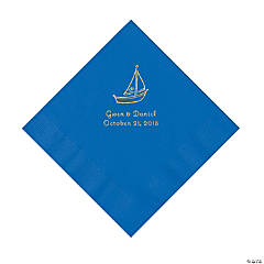 Cobalt Blue Sailboat Personalized Napkins with Gold Foil - Luncheon