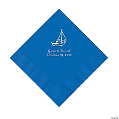 Cobalt Blue Sailboat Personalized Napkins with Silver Foil - Luncheon