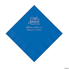 Cobalt Blue The Adventure Begins Personalized Napkins with Silver Foil - Luncheon