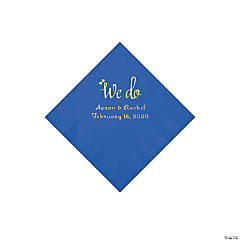 Cobalt Blue We Do Personalized Napkins with Gold Foil - Beverage
