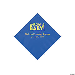 Cobalt Blue Welcome Baby Personalized Napkins with Gold Foil - Beverage