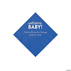 Cobalt Blue Welcome Baby Personalized Napkins with Silver Foil - Beverage