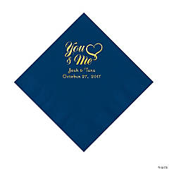 Cobalt Blue You & Me Heart Personalized Napkins with Gold Foil – Luncheon