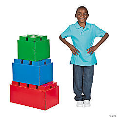 Color Brick Party 3D Cardboard Stand-Ups
