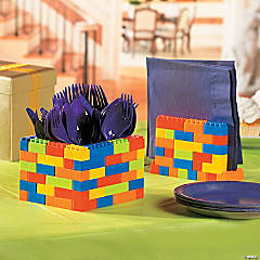 Color Brick Party Utensil and Napkin Holder Idea