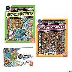 Color By Number Color Counts: Garden and Animals Set of 2 With Pencils