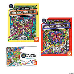 Color By Number Color Counts: Kaleidoscopes and Sun Catchers Set of 2 With Pencils
