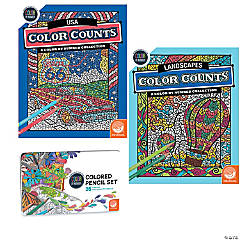 Color By Number Color Counts: USA and Landscapes Set of 2 With Pencils