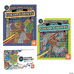 Color By Number Color Counts: World and Tropical Set of 2 With Pencils
