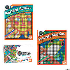 Color By Number Mystery Mosaics Set: Books 1-2 with pencils