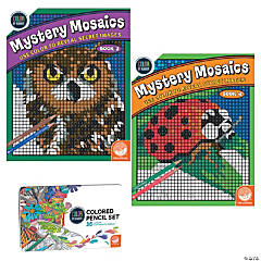 Color By Number Mystery Mosaics Set: Books 3-4 with pencils