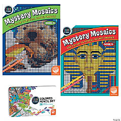 Color By Number Mystery Mosaics Set: Books 5-6 with pencils
