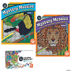 Color By Number Mystery Mosaics Set: Books 7-8 with pencils