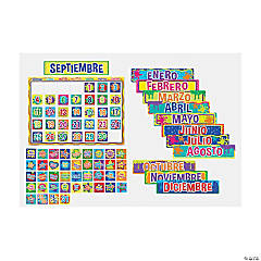 Color My World Spanish Classroom Calendar Bulletin Board Set