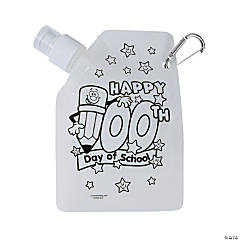 Color Your Own 100th Day of School Collapsible Water Bottles