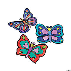 Color Your Own Butterfly Fuzzy Magnets