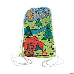 Color Your Own Camp Canvas Drawstring Backpacks