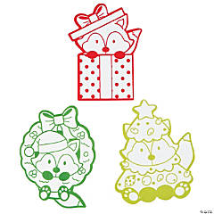 Color Your Own Christmas Critters Fuzzy Magnets