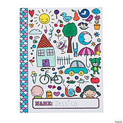 Color Your Own Doodle Pocket Folders