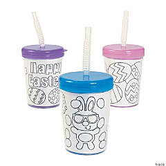 Color Your Own Easter Cups with Lids & Straws
