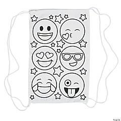 Color Your Own Emoji Canvas Drawstring Backpacks