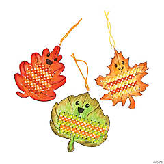 Color Your Own Fall Leaf Cross Stitch Ornaments