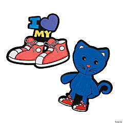 Color Your Own Fuzzy Cat & Shoes Magnets