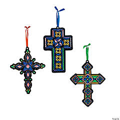 Color Your Own Fuzzy Cross Ornaments