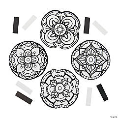 Color Your Own Fuzzy Mandala Flower Magnets