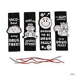Color Your Own Fuzzy Red Ribbon Week Bookmarks