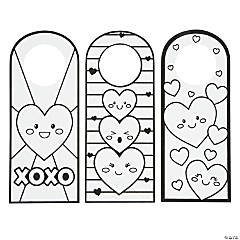 Color Your Own Fuzzy Valentine Doorknob Hangers