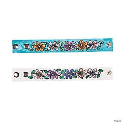 Color Your Own Imitation Leather Flower Bracelets