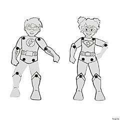 Color Your Own Jointed Superheroes