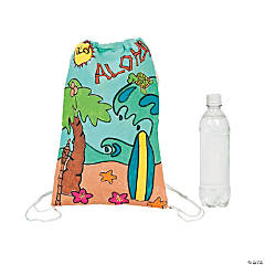 Color Your Own Large Tropical Canvas Drawstring Bags