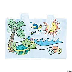 Color Your Own Large Tropical Canvas Tote Bags