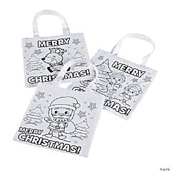 Color Your Own Mini Christmas Tote Bags