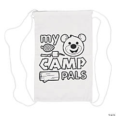 Color Your Own My Small Camp Pals Autograph Canvas Drawstring Bags