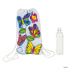 Color Your Own Small Butterfly Canvas Drawstring Bags