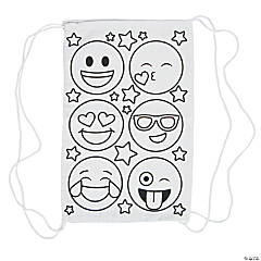 Color Your Own Small Emoji Canvas Drawstring Bags