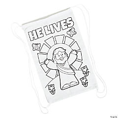 Color Your Own Small He Lives Canvas Drawstring Bags