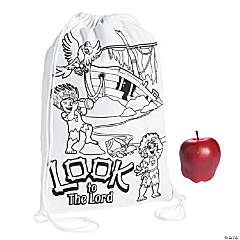 Color Your Own Small Island VBS Canvas Drawstring Bags