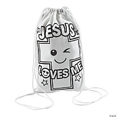 Color Your Own Small Jesus Loves Me Drawstring Bags