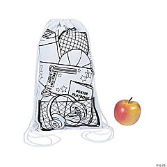 Color Your Own Small Sports VBS Canvas Drawstring Bags