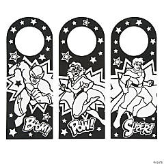 Color Your Own Superhero Doorknob Hangers